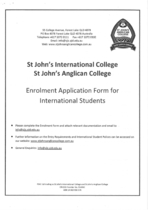 St. John's Anglican college Enrolment Application Form for International Students